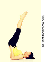 cima., pernas, mulher, dela, condicão física