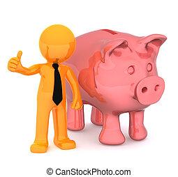 cima., piggybank, negócio, dar, ilustração, polegares, conceitual, homem negócios