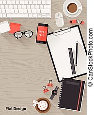 cima plana, diseño, lugar de trabajo, vista