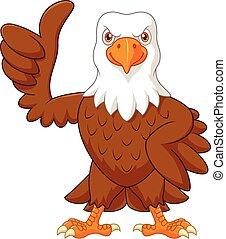 cima, polegar, águia, caricatura, dar