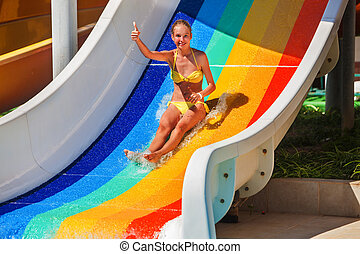 cima., polegar, mostrar, aquapark, corrediça água, criança