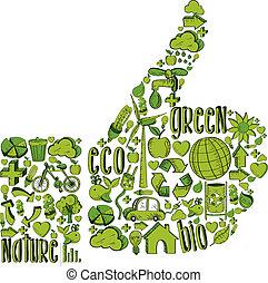 cima, polegar verde, ambiental, ícones