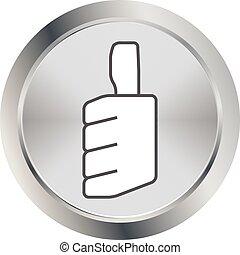 cima, polegares, ícone