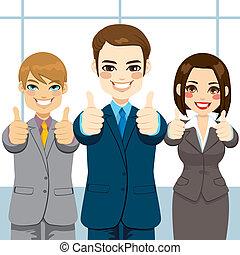 cima, polegares, pessoas negócio