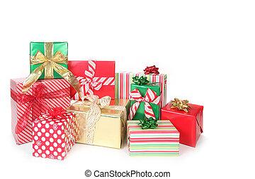 cima, presentes, bonito, embrulhado, christmas branco