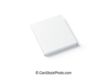 cima, quadrado, livro, hardback, em branco, branca, lado, escarneça, vista