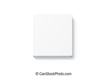 cima, quadrado, topo, livro, hardback, em branco, branca, escarneça, vista