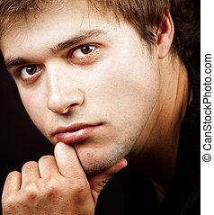 cima, retrato, de, um, bonito, homem jovem