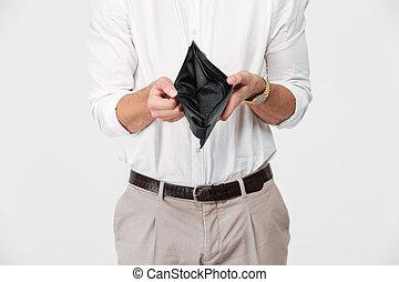 cima, retrato, de, um, homem, mostrando, carteira vazia