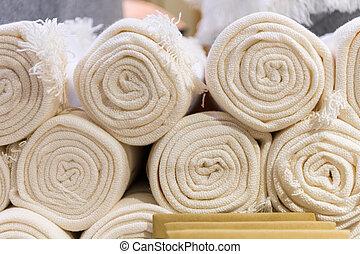 cima, rolado, branca, têxtil, shop., toalhas