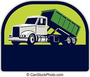 cima, roll-off, caminhão, retro, meio círculo, lado