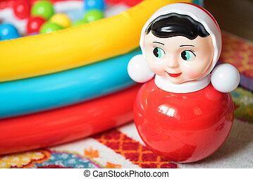 cima, roly-poly, brinquedo, para, crianças