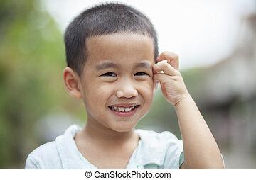 cima, rosto, asiático, headshot, fim, crianças, felicidade, rir