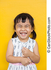 cima, rosto, de, asiático, criança, toothy, sorrindo,...