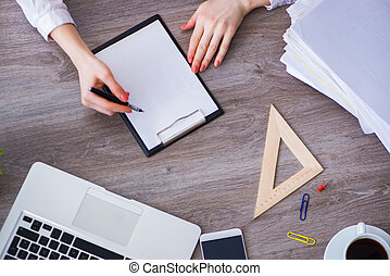 cima, scrivania, vista, lavorativo, mani