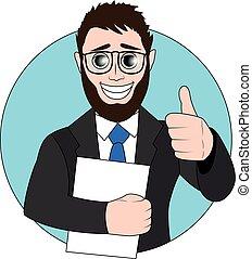 cima., seu, polegar, mão., vetorial, papel, homem negócios, illustration.