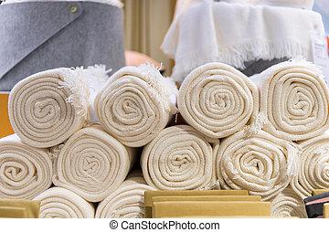 cima, shop., rolado, têxtil, toalhas, branca