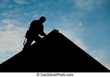 cima, silueta, techo, trabajando, contratista