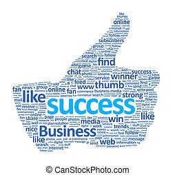 cima, sinal, polegar, sucesso