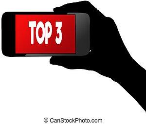 cima, smartphone, screen., rosso, 3