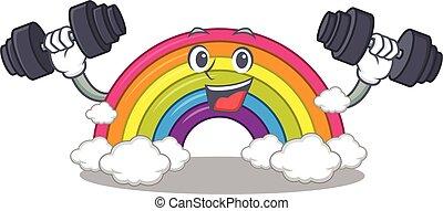 cima, sorrindo, arco íris, desenho, barbells, condicão física, mascote, elevador, exercício