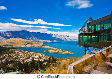 cima, sur, lago, wakatipu, isla, cityscape, zealand, nuevo, ...