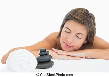 cima, tabela, jovem, fim, massagem, mulher, bonito