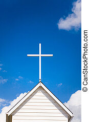 cima, techo, iglesia