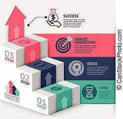cima, teia, usado, negócio, escadaria, ser, timeline, opções, workflow, número, desenho, infographics, esquema, vetorial, diagrama, lata, passo, bandeira, illustration., template., 3d