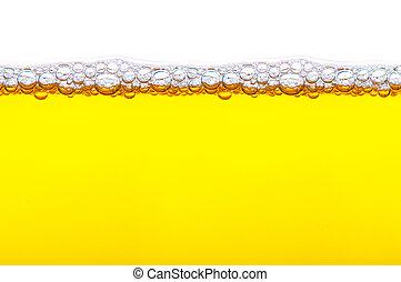 cima, tiro, de, amarela, cerveja, com, espuma, e, bolhas, branco, fundo