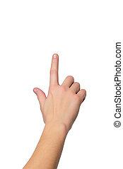 cima, tiro, de, mão feminina, com, um, dedo, tocar,...