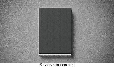 cima, tissular, livro duro tampa, pretas, em branco, frente, lado, escarneça, vista