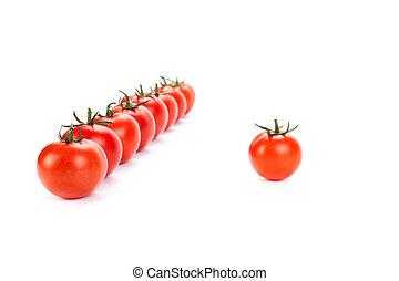 cima, tomates, fundo, branca, alinhado, vermelho, fila