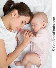 cima., topo, cama, dormir, bebê recém-nascido, mãe, vista, fim, home.