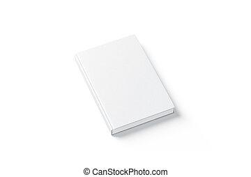 cima, topo, livro duro tampa, em branco, branca, lado, escarneça, vista