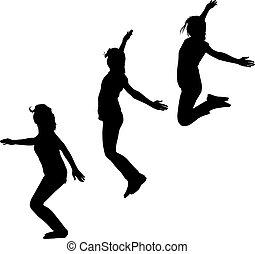 cima, três, pular, silueta, mãos, meninas, movimento, jovem