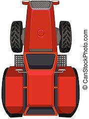 cima, trattore rosso, vista