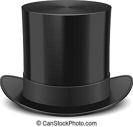 cima, vector, sombrero, ilustración