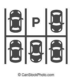 cima, vector, vista, lot., estacionamiento