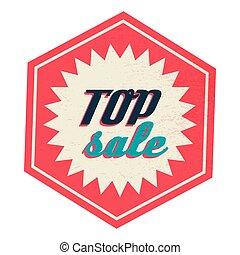 cima, venta, etiqueta, vendimia, estilo