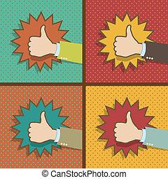 cima, vindima, polegar, semelhante, mãos