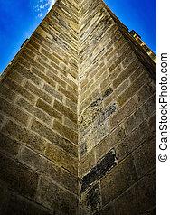 cima, vista, de, a, histórico, parede pedra