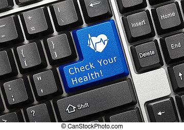 cima, vista, ligado, conceitual, teclado, -, cheque, seu, saúde, (blue, tecla, com, coração, symbol)