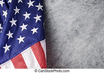 ciment, drapeau américain, fond