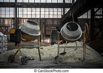 ciment, site construction, mélangeur