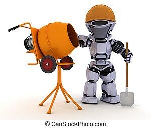 cimento, construtor, robô, misturador