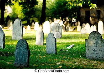 cimetière, à, beaucoup, pierres tombales, sur, les, clair,...