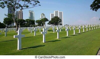 cimetière, américain, manille, rangées