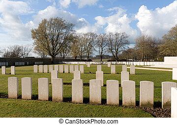 cimetière, baissé, soldats, dans, première guerre mondiale, flandre, belgique