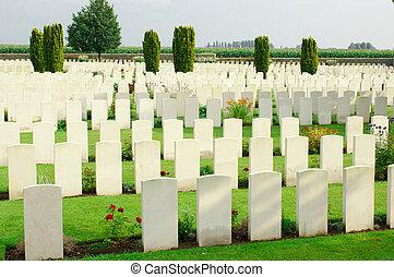 Cimetière, flandre, Belgique, mondiale, guerre, premier